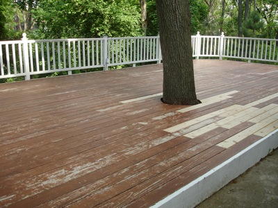 After scrubbing the deck with a deck cleaner