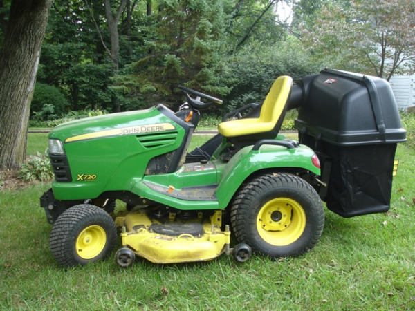 John Deere X720 mower with Power Flow Bagger - we use this for picking up leaves every fall.