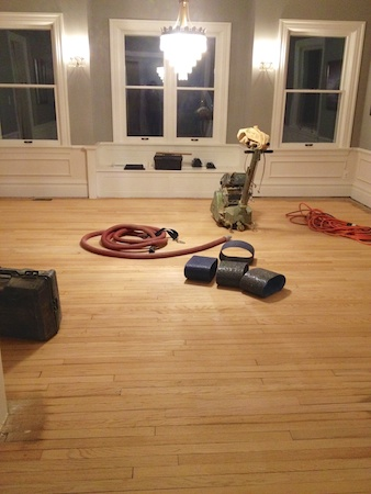 The dining room - in the middle of sanding.
