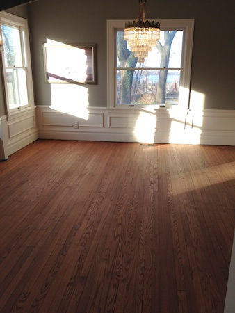 The dining room - stained, with no polyurethane.