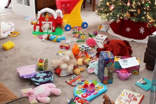 About half of the toys Haley got for Christmas.