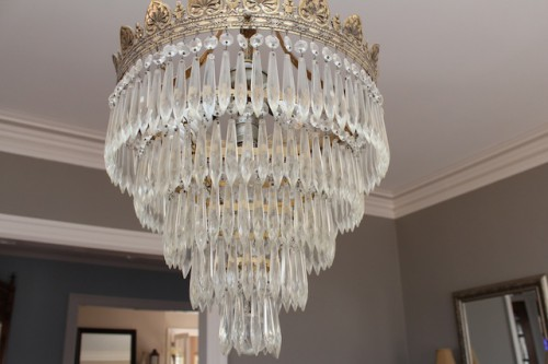 Our (super dirty) crystal chandelier.