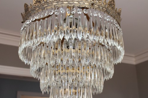 After - clean and glittery chandelier.