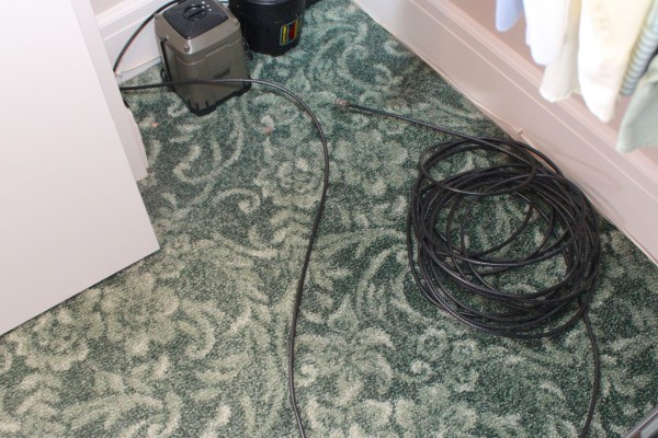 Pile of new cable in master closet.