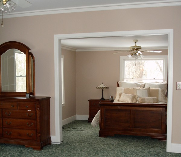 A picture of the bedroom when the paint was new. Sherwin Williams Sand Dune.