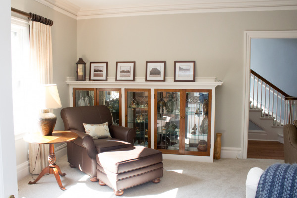 Our living room, painted Sherwin Williams Colonnade Gray.