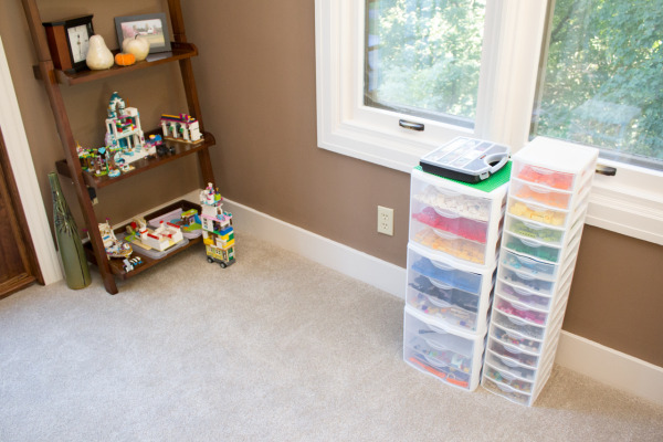 Storage Drawers for Legos & a Shelf for storing finished creations.