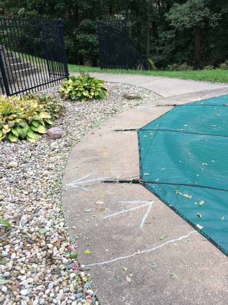 Return jets, deck jets and skimmer locations are marked with sidewalk chalk.