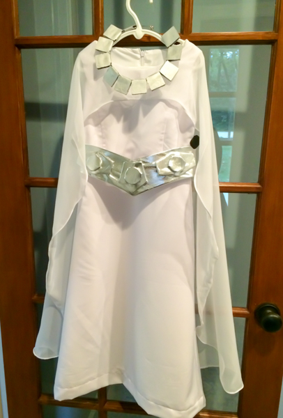 A homemade kids' version of Princess Leia's ceremonial dress from Star Wars: A New Hope.